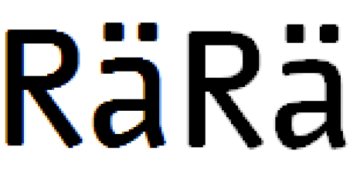 Nuvo - 72 px - ClearType links aktiviert / rechts deaktiviert im Vergleich - 4fache Vergrößerung