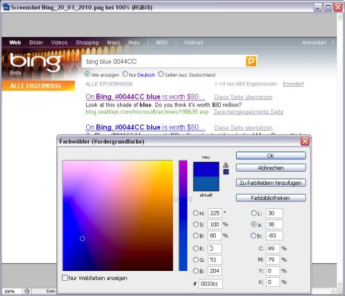Messung der Farbauszeichnung in PhotoShop: Blau #0033CC, nicht wie medial verbreitet #0044CC