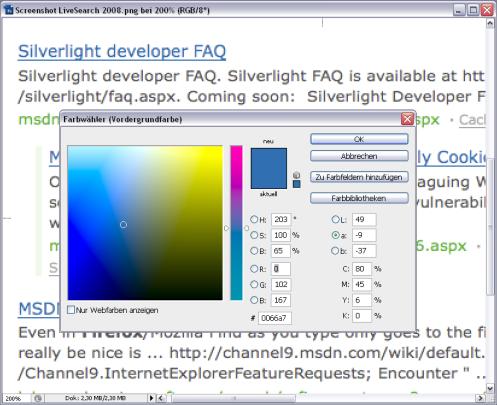 Farbe der Linkauszeichnung in Live Search von 2008: Hexwert 0066A7