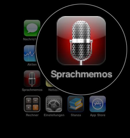 Details von Typo und Icon des Buttons Sprachmemos auf iPhone 3
