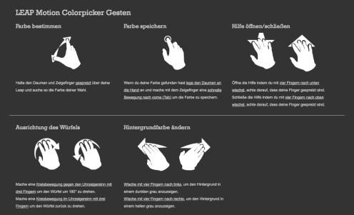 Visuelle und textuelle Beschreibung der im Colorpicker verwendeten Gesten im Hilfelayer der Colorpicker Applikation.