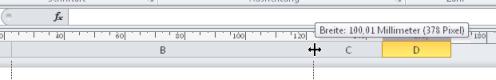 Abb. 5 (Screenshot): In der Seitenlayout-Ansicht zeigt Excel die Breite in metrischer Einheit sowie in Pixel an.