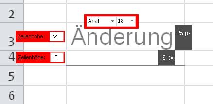 Abb 8 (Composing vergrößerter Screenshot):Eingabe von Schriftgröße und Zeilenhöhe als Punktgrößen in Excel-Win und Messung des Resultats in px.