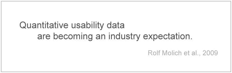 Quantitative usability data are becoming an industry expectation (Rolf Molich et al.)